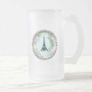 Eiffel Tower Pink Roses and Zebra Print Frosted Glass Mug