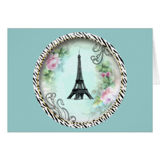 Eiffel Tower Pink Roses and Zebra Print Greeting Card