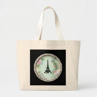 Eiffel Tower Pink Roses and Zebra Print Jumbo Tote Bag