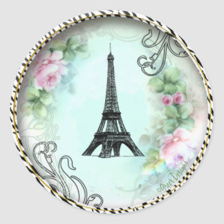 Eiffel Tower Pink Roses and Zebra Print Round Sticker
