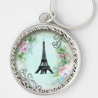 Eiffel Tower Pink Roses and Zebra Print Silver-Colored Round Key Ring