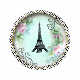 Eiffel Tower Pink Roses n Zebra Print Ornament Standing Photo Sculpture