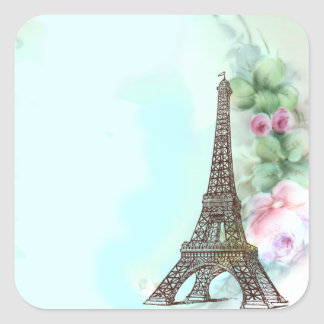 Eiffel Tower & Pink Roses Stickers Tags
