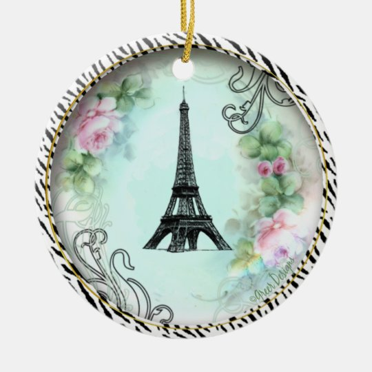 Eiffel Tower Pink Roses Zebra print Ceramic Ornament