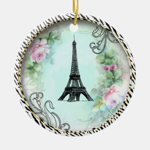 Eiffel Tower Pink Roses Zebra print Round Ceramic Decoration