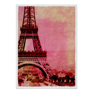 Eiffel Tower Pink Sunset Vintage Style Posters