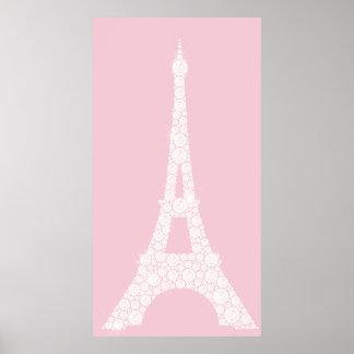 Eiffel Tower Pink White Swarovski Crystals Paris Poster