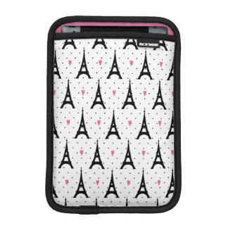 Eiffel Tower Polka Dots & Hearts Pattern iPad Mini Sleeve