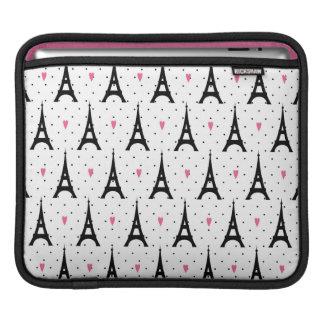 Eiffel Tower Polka Dots & Hearts Pattern iPad Sleeve