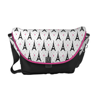 Eiffel Tower Polka Dots & Hearts Pattern Messenger Bags