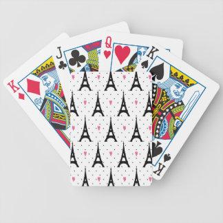 Eiffel Tower Polka Dots & Hearts Pattern Poker Deck