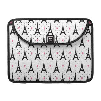 Eiffel Tower Polka Dots & Hearts Pattern Sleeve For MacBook Pro