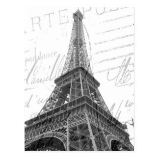 Eiffel Tower Post Card, Black & White, Vertical Postcard