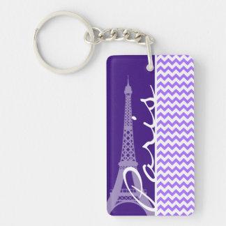Eiffel Tower; Purple Chevron Double-Sided Rectangular Acrylic Key Ring