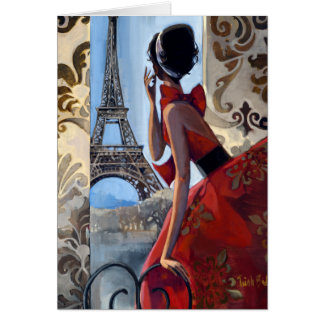 Eiffel Tower, Red Dress, Let's Go Greeting Card