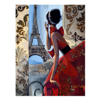Eiffel Tower, Red Dress, Let's Go Post Cards