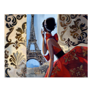 Eiffel Tower, Red Dress, Let's Go Postcard