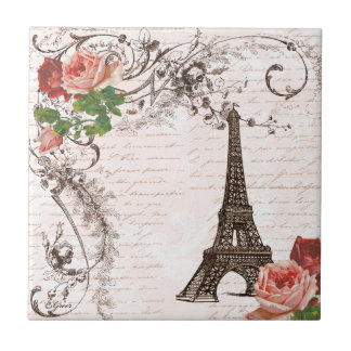 Eiffel Tower Red & Pink Rose Ceramic Tile