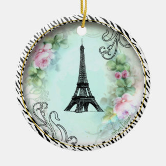 Eiffel Tower Roses Zebra Print Ornament