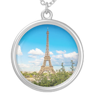 Eiffel Tower Round Photo Charm Necklace