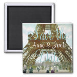 Eiffel Tower Save the Date Square Magnet