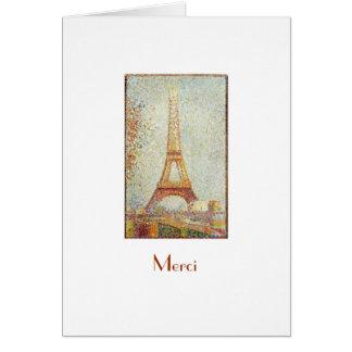 Eiffel Tower, Seurat Thank You Note Card