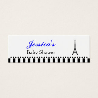 Eiffel Tower Silhouette Small Tag - Bright Blue