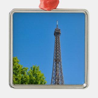 Eiffel Tower Silver-Colored Square Decoration