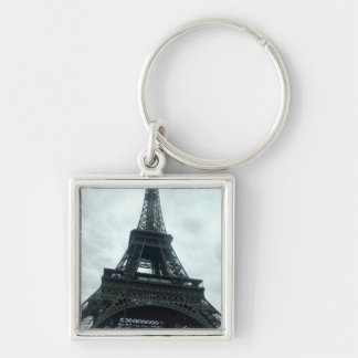 Eiffel Tower Silver-Colored Square Key Ring