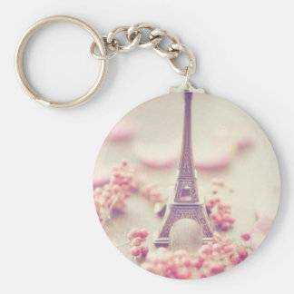 Eiffel tower simple key chain. basic round button key ring