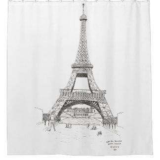 Eiffel Tower Sketch, Paris, France 1905 Shower Curtain