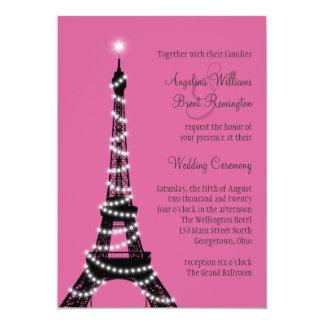 Eiffel Tower Sparkles Wedding Invitation (fuchsia)