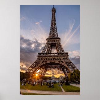 Eiffel Tower Sunset Starburst Poster