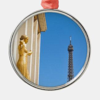 Eiffel Tower (Tour Eiffel) in Paris, France Silver-Colored Round Decoration