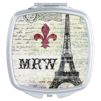 Eiffel Tower Vintage French Compact Travel Mirror