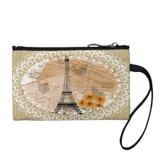 Eiffel Tower Vintage French Postcards & Map Coin Purse