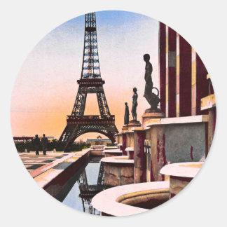 Eiffel Tower Vintage Hand Colored Birds Eye View Classic Round Sticker