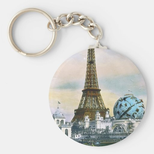 Eiffel Tower Vintage Postcard Print Keychains