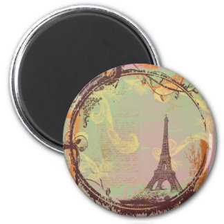 Eiffel Tower Vintage Style in Pink 6 Cm Round Magnet