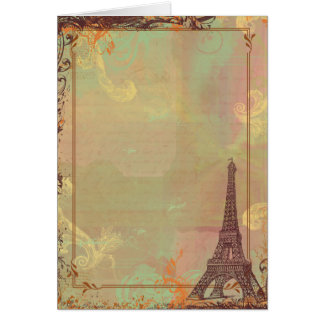 Eiffel Tower Vintage Style in Pink Greeting Card