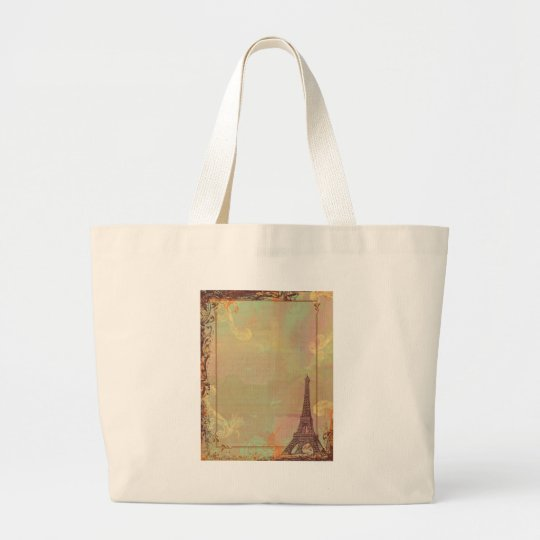 Eiffel Tower Vintage Style in Pink Large Tote Bag