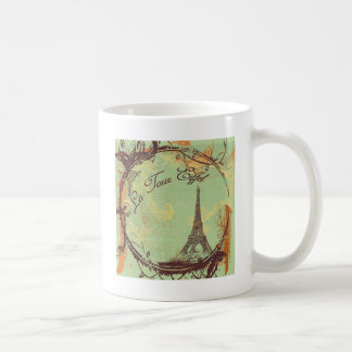 Eiffel Tower Vintage Style in Pink Classic White Coffee Mug