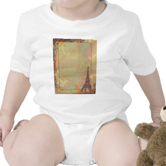 Eiffel Tower Vintage Style in Pink Tee Shirts