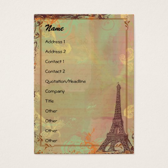 Eiffel Tower Vintage Style Profile/Save the Date Business Card