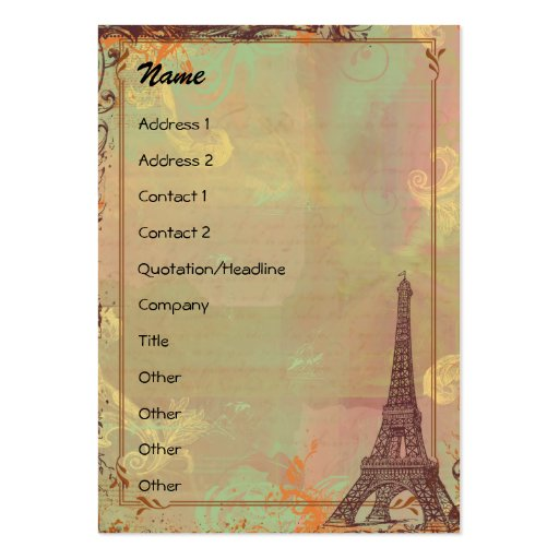 Eiffel Tower Vintage Style Profile/Save the Date Pack Of Chubby Business Cards
