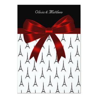 """Eiffel Tower Wedding 5"""" X 7"""" Invitation Card"""