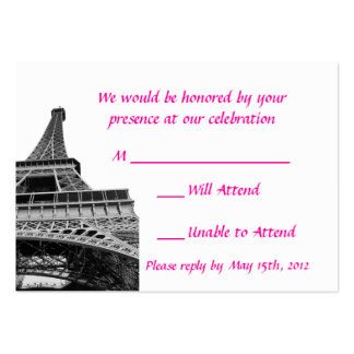 Eiffel Tower Wedding RSVP Cards Large Business Cards (Pack Of 100)