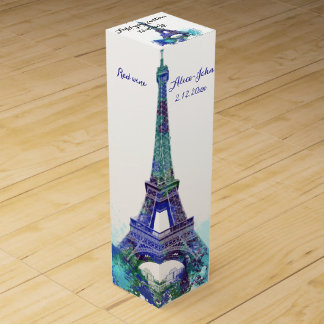 Eiffel tower wedding wine gift box
