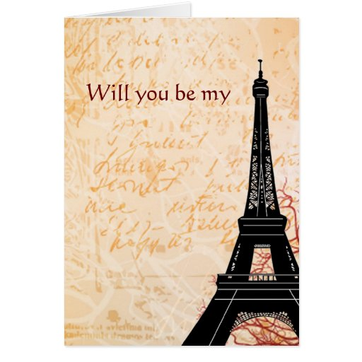 Eiffel Tower Will You Be My Note card