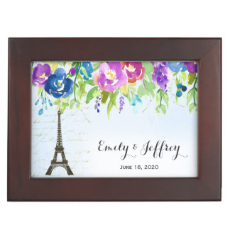 Eiffel Tower with boho floral Keepsake Box